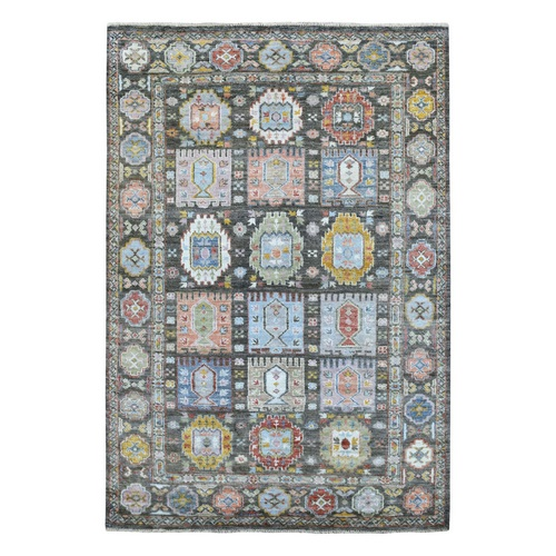 Anatolian Garden Panel Design Black In A Colorful Palette Hand Knotted Natural Dyes Oriental