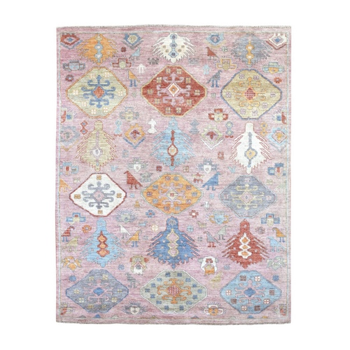 100% Wool Anatolian Design Hand Knotted Pink With Soft Color Oriental
