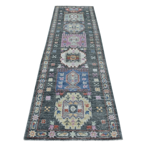 Hand Knotted Dark Gray With Geometric Village Anatolian Design Angora Oushak Glimmery Wool Oriental Runner