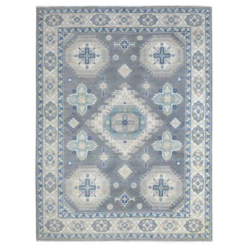 The Fusion Of Beautiful Gray, Beige And Blue Geometric Pattern Vintage Look Kazak Hand Knotted Afghan Wool Oriental