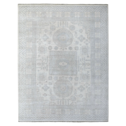 Hand Knotted White Wash Peshawar With Khotan Design Pure Wool Oriental