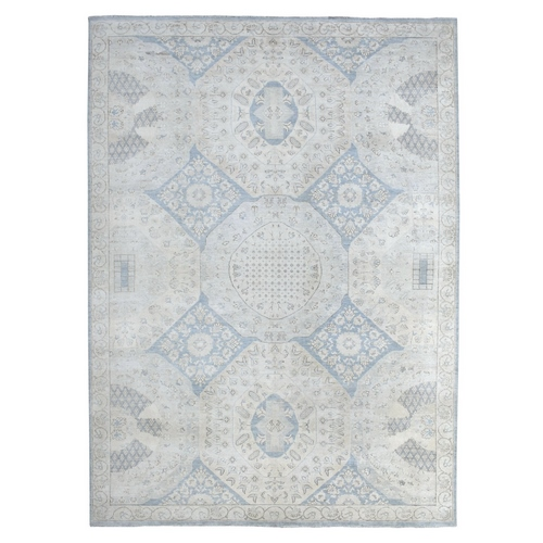 Mix Of Ivory And Blue Shades White Wash Peshawar With Velvety, Soft Plush Pure Wool Hand Knotted Oriental