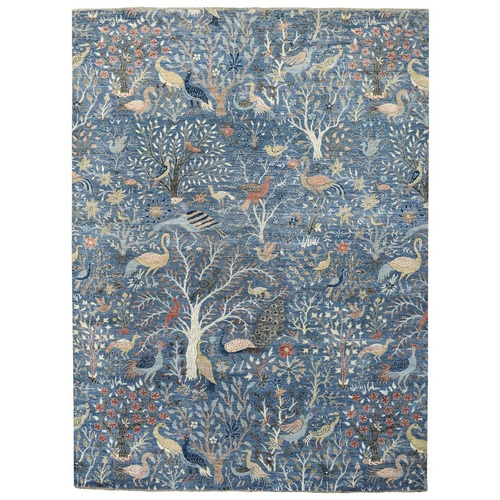 Denim Blue Soft, Velvety Plush Peshawar Birds of Paradise Organic Wool Hand Knotted Oriental