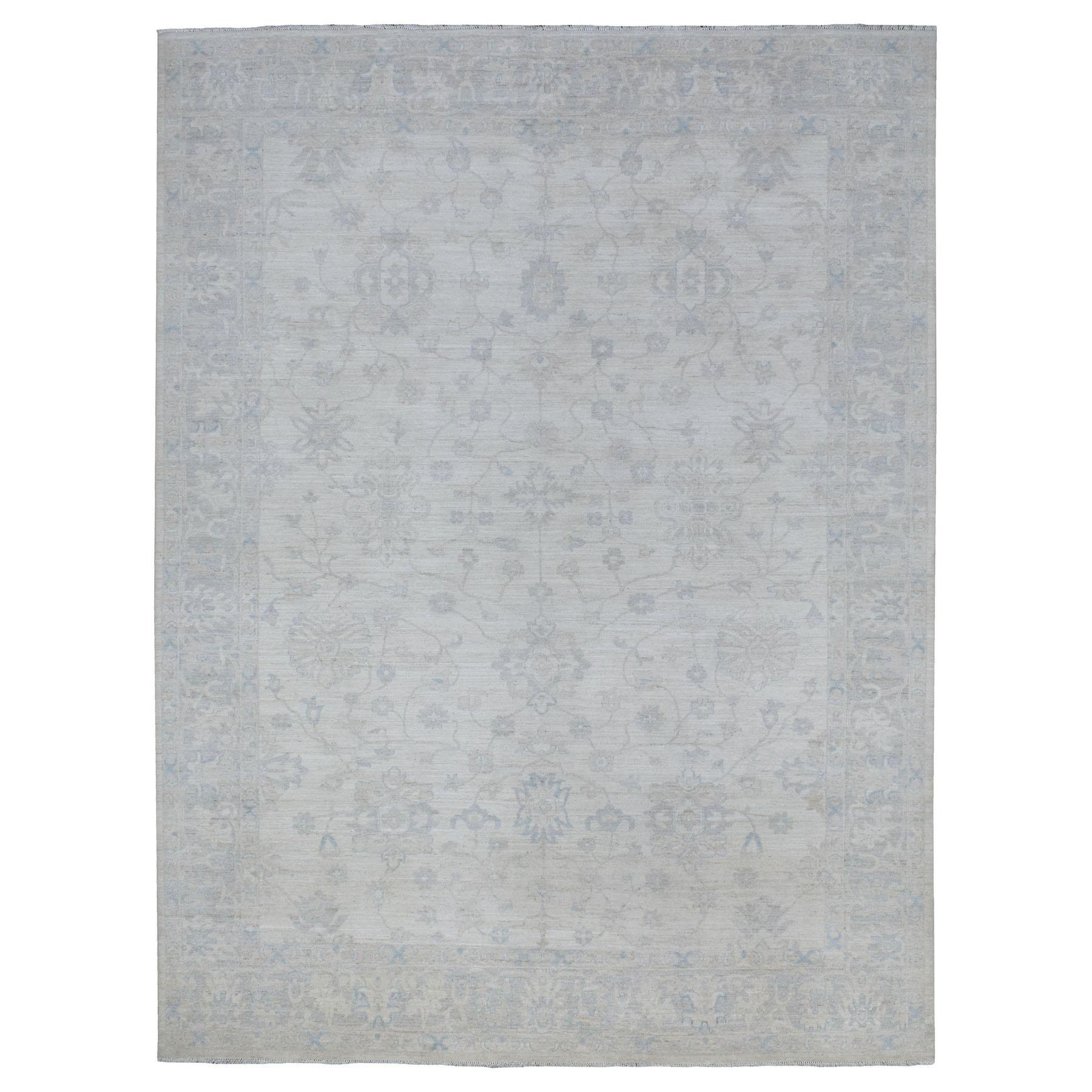 Soft, Velvety Plush White Wash Peshawar Hand Knotted 100% Wool Extremely Durable Oriental