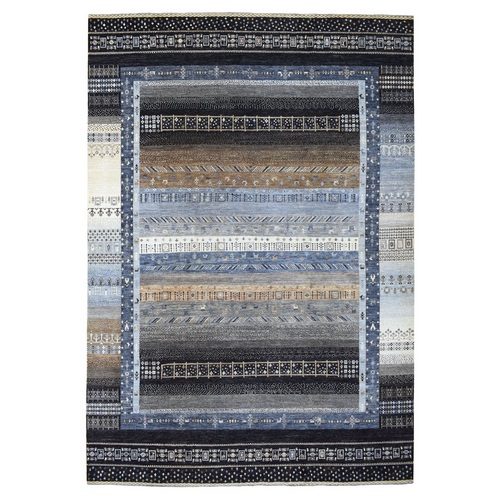 Light Gray Kashkuli Gabbeh With Soft, Velvety Plush Vibrant Wool Hand Knotted Oriental