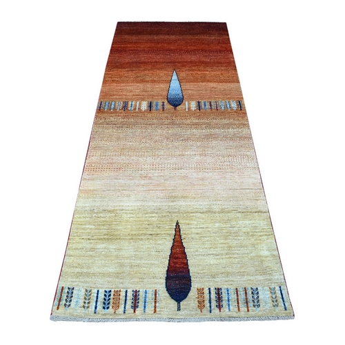 Balance Combination Of Beige, Red, And Brown Kashkuli Gabbeh With Cypress Tree Design Hand Knotted Pure Wool Oriental Runner
