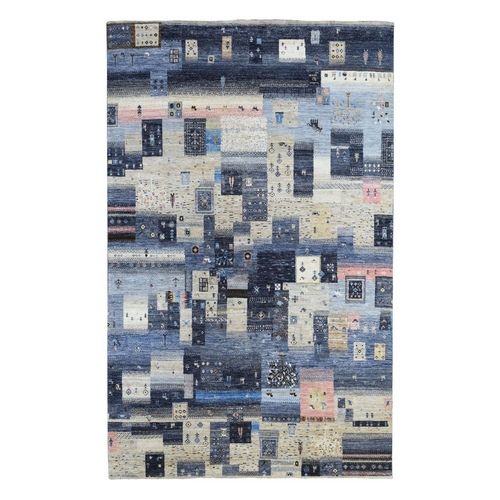 Mix Of Gray, Beige And Blue Extremely Durable Kashkuli Gabbeh Hand Knotted Afghan Wool Oriental