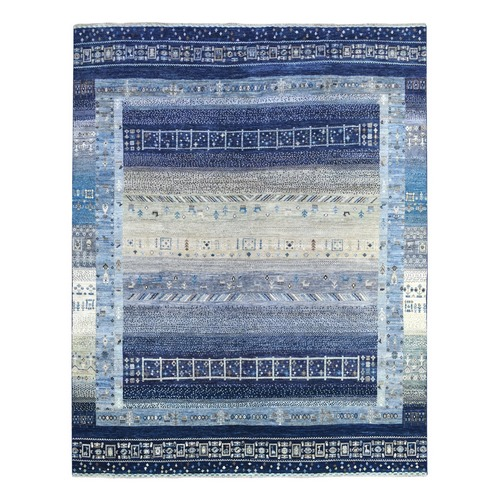 Shades Of Blue Kashkuli Gabbeh With Soft, Velvety Plush Natural Wool Hand Knotted Oriental