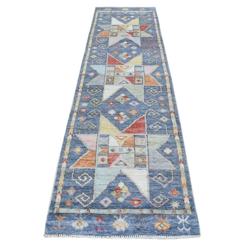 Hand Knotted Vibrant Wool Anatolian Star Design Blue In A Colorful Palette Oriental Runner