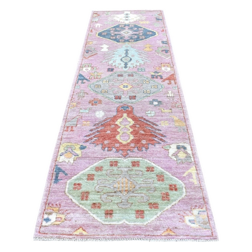 Soft Velvety Wool Pink With Floral Motifs Hand Knotted Anatolian Design Oriental Runner